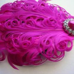 Hot pink nagori feather headband