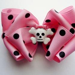 Polka Dottie Crossbones bow